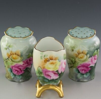 Antiques Bavaria Hand Painted Roses Salt And Pepper  Tooth Pick Holder