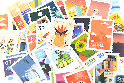 50 pieces retro stamp theme Stickers Pack for junk bullet journal notebook