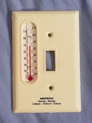 Vtg Advertising Light Switch Cover Thermometer ARMSTRONG Lubbock Midland Odessa