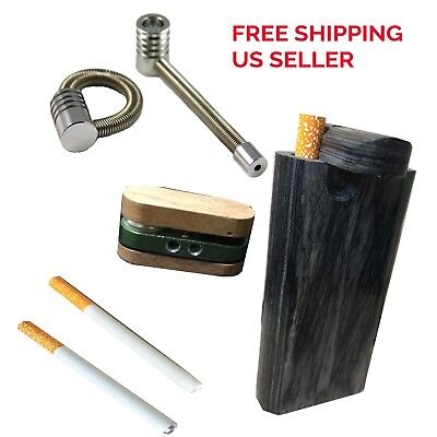 Set of 5 items black wood 4' Dugout, +2 One hitters(Ceramic and metal) +2 pipes