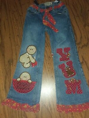 Custom Christmas jeans Gingerbread girl size 6