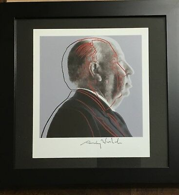 """Andy Warhol Hand Signed Print 1986 """"Alfred Hitchcock"""" COA"""