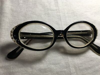 Vintage 50's L.Evrard Rhinestone cat eye Frame France TWE Celluloid glasses