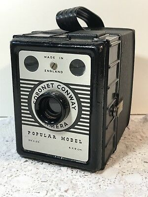Vintage CORONET CONWAY BOX CAMERA Popular Model 6x9cm, Made in England 1950