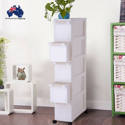 5 Tier Drawer Storage Organiser Colored Plastic Office Box Cabinet With Wheel