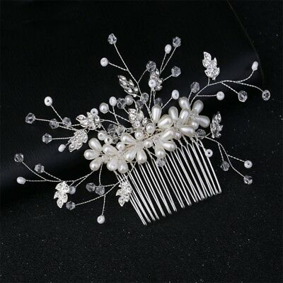 Wedding Bridal Hair Comb Pearl Headpiece Handmade Women Bride Headwear Silver