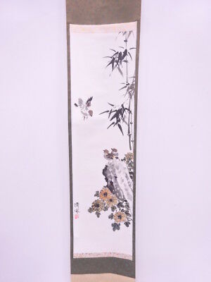 3812414: Japanese Wall Hanging Scroll / Hand Painted / Bamboo With Sparrow