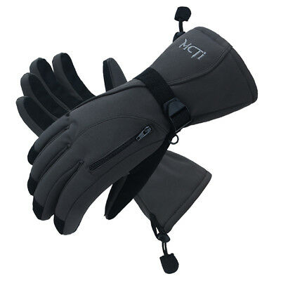 -30℃ Mens PU Leather Waterproof Snowboard Snowmobile Warm Thermal Ski Gloves