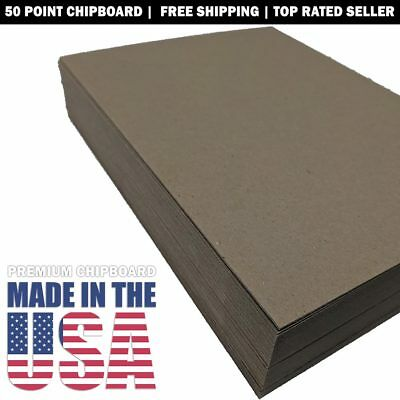 Chipboard 50pt Extra Thick Rigid 8.5x11 Sheets 20, 40, 60, 80 or 100 Qty 0.050""