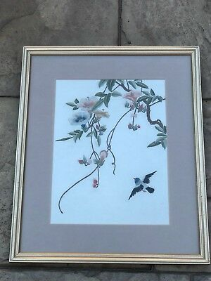 Vintage Japanese Oriental Silk Cloth Embroidered Picture Bird Colourful Flowers