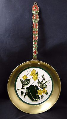 Vintage COSMOSMALT Greek Greece Enamel Bronze Copper Wall Hanging Fry Pan