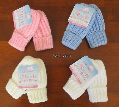 Baby Knitted Mittens Chunky Gloves Pink Blue White Boys Girls  Winter Wear 0-12M