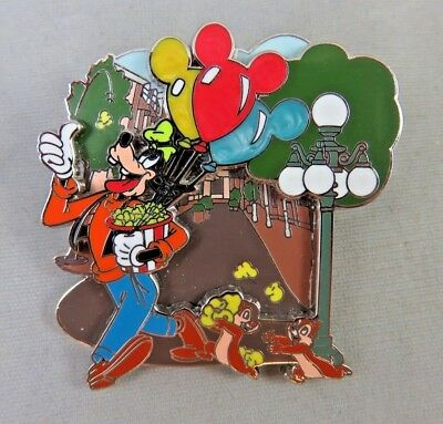 Disney Store Pin - Main Street - Chip and Dale and Goofy - Balloons and Popcorn