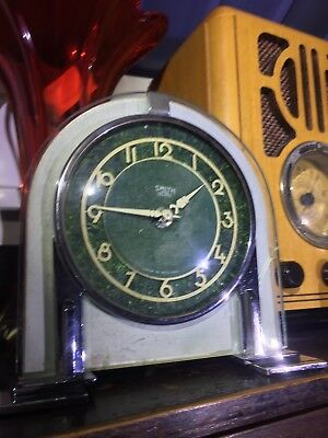 COLLECTABLE CLOCKS Art Deco chrome 1930's SMITH mantle clock MADE IN ENGLAND