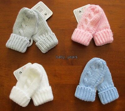 Baby Knitted Mittens Gloves Pink Blue White Grey Boys Girls Cable Knit 0-12M