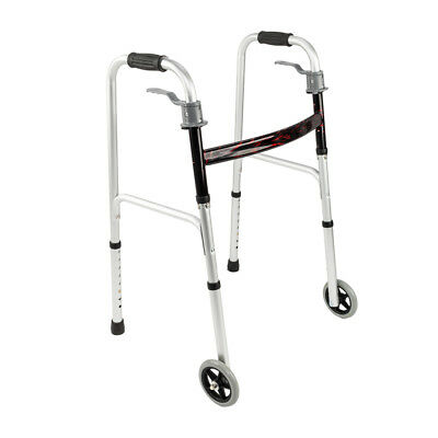 """Folding Medical Walker with 5"""" Front Wheels Adjustable Height"""