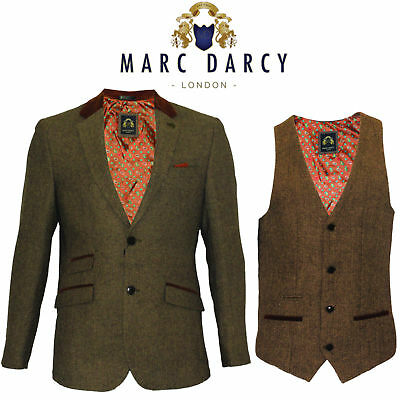 Mens Marc Darcy Blazer Waistcoat Designer Tan Tweed Herringbone Slim Fit Smart