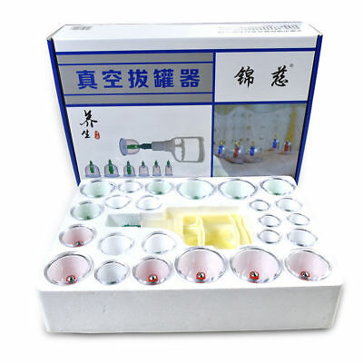 Chinese 24 Cups Chinese Cupping Set Massage Acupuncture Vacuum Therapy