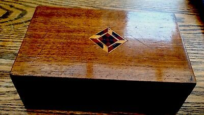 Antique Mahogany Trinket Box Marquetry Inlaid Lid With Lock & Key 18x12x6.5cms