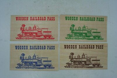 Lot of 4 1971 Wood Veneer Railroad Pass Souvenir Token Railroad Boro