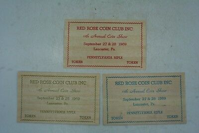 Lot of 3 1969 Wood Veneer Souvenir Token Pennsylvania Rifle Red Rose Coin Club