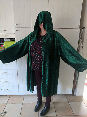 oversized bottle green Crushed Velvet short hooded cloak with sleeves.