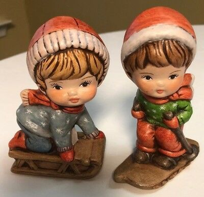 2 Vintage Hand Painted Ceramic Children At Play Winter Figurine Decoration