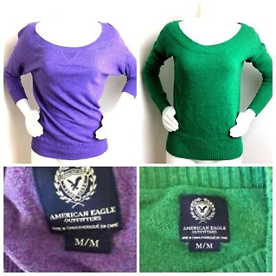 Set 2 American Eagle Outfitters Womans Sweaters Green Purple Top Jumper Medium