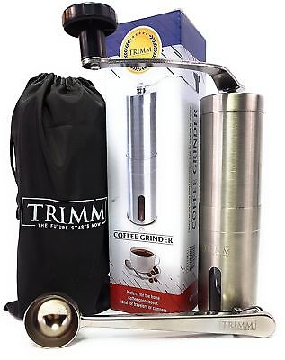 Trimm Burr Coffee Grinder | Manual Coffee Grinder | Conical Burr Mill Brushed...