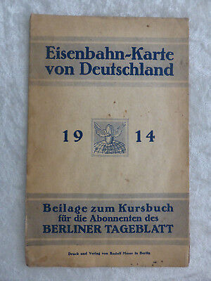 Original 1.WK Eisenbahn Karte Reichsbahn 1914 Plan german railroad train map WW1