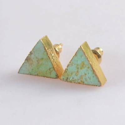 10mm Triangle Natural Genuine Turquoise Stud Earrings Gold Plated B069851