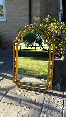 Antique Vintage Style Very Large Gilt Gold Arched Frame Wall Mirror Quick Sale!