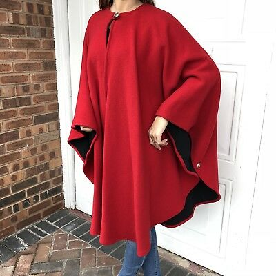 Peter James Red Wool & Cashmere Warm Winter Cape Poncho Coat One Size