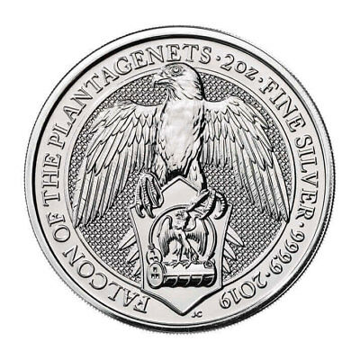 2019 Britain 2 oz Silver Queen's Beasts Falcon Plantagenets £5 GEM BU SKU55246