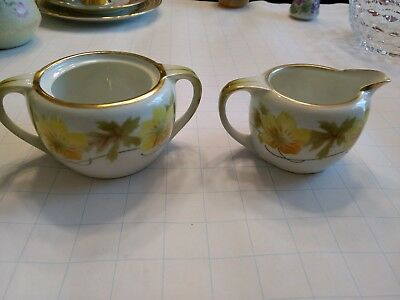 Vintage Sugar Bowl and Creamer RS Germany handpainted porcelain