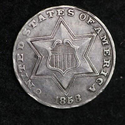 1858 Three Cent Silver Piece CHOICE XF+ FREE SHIPPING E270 AFT