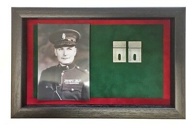 Large RUC Medal Display Case With Photograph For 3 - 4 Medals. Black Frame