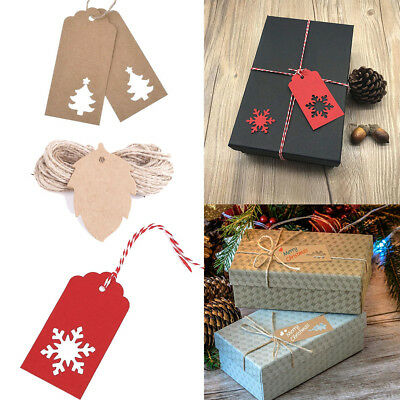 100 per Pack Kraft Paper Gift Tags Card Label with String Xmas Gift Wrapping UK