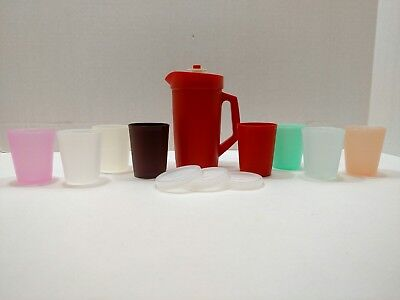 Tupperware Mini Play Kitchen Set Pitcher Cups Vintage Lot of 12 Pieces T22