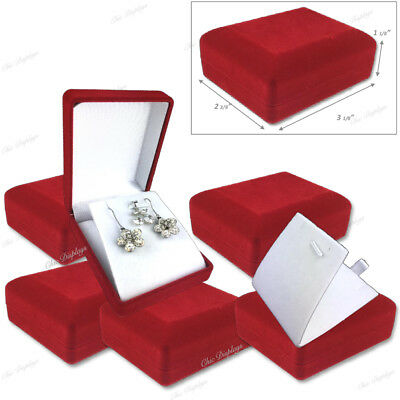 LOT OF (6) Pc LONG EARRING BOXES PENDANT BOXES JEWELRY SET BOXES RED GIFT BOXES