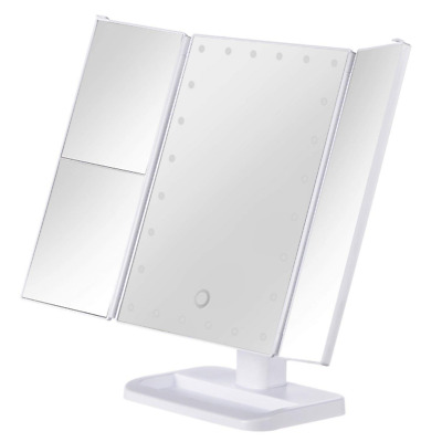 Makeup Vanity Mirror White Lighted Tabletops, LED Cosmetic with Dimmable Bulbs