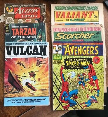 comic job lot .the avengers ,vulcan ,tarzan ,gold key,dc,marvel scorcher valiant