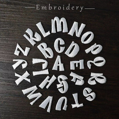 Sew on & iron on embroidery patches(stylish alphabet letter- white)