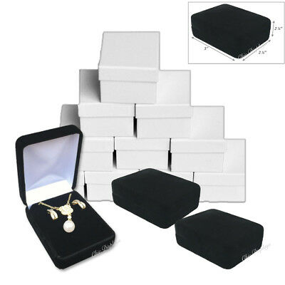 12 - Metal Black Velvet Long Earring Box Necklace Jewelry Presentation Gift Box