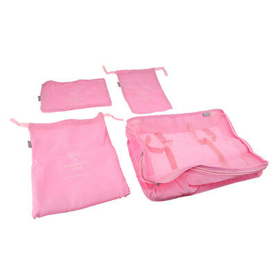 8 Pcs/Set Luggage Organizer Storage Bags Travel Suitcase Packing Pouch/Pink