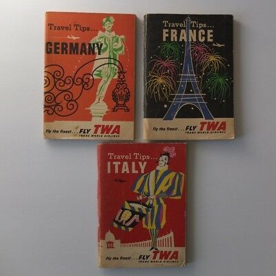 lot of 3 TWA Travel Tips booklets, 1960—Germany France Italy—Jet Age, Boeing 707