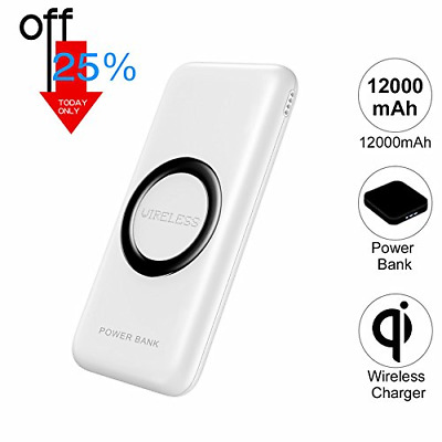 12000mAh QI Wireless Power Bank Charger for iPhone 8/Plus X Samsung Galaxy Note