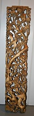 ANTIQUE CHINESE WOOD Deep CARVED GILT Gold TEMPLE PANEL BIRDS Flowers TREE China