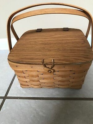 Longaberger 1999 GRANDMA BONNIE'S TWO 2 PIE BASKET Lid Leather Hinged