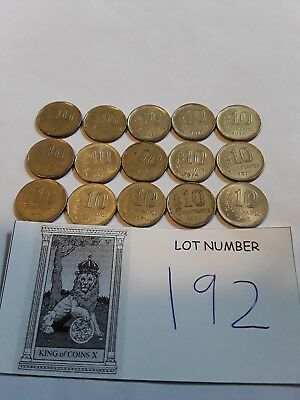 Lot of 15 Argentina 10 Centavos Coins From The 1970s